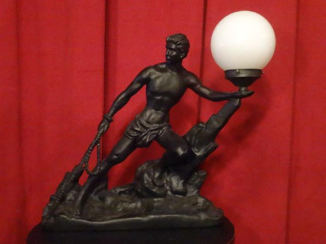 MALE FIGURAL FORM LAMP, WHITE GLASS BALL SHADE, PAINTED