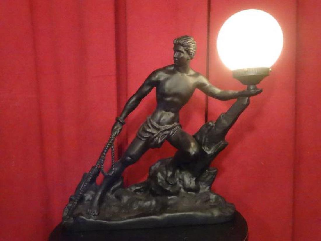 MALE FIGURAL FORM LAMP, WHITE GLASS BALL SHADE, PAINTED - 2