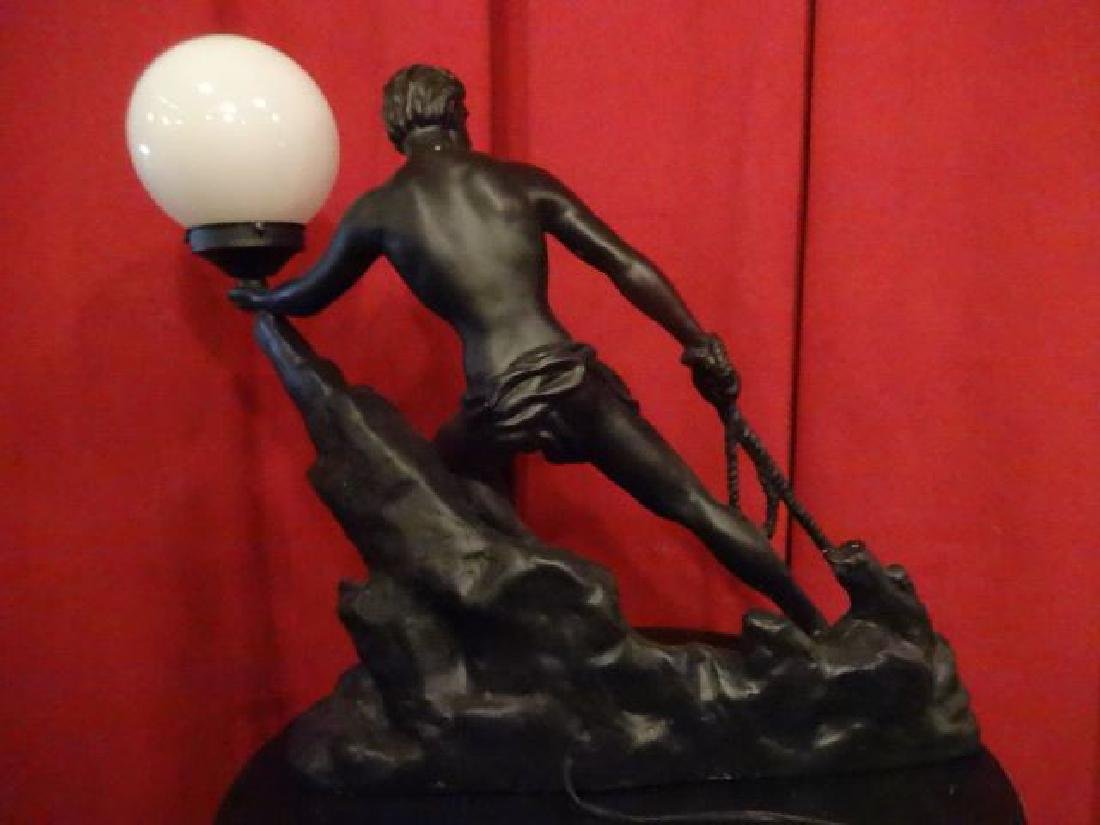 MALE FIGURAL FORM LAMP, WHITE GLASS BALL SHADE, PAINTED - 8