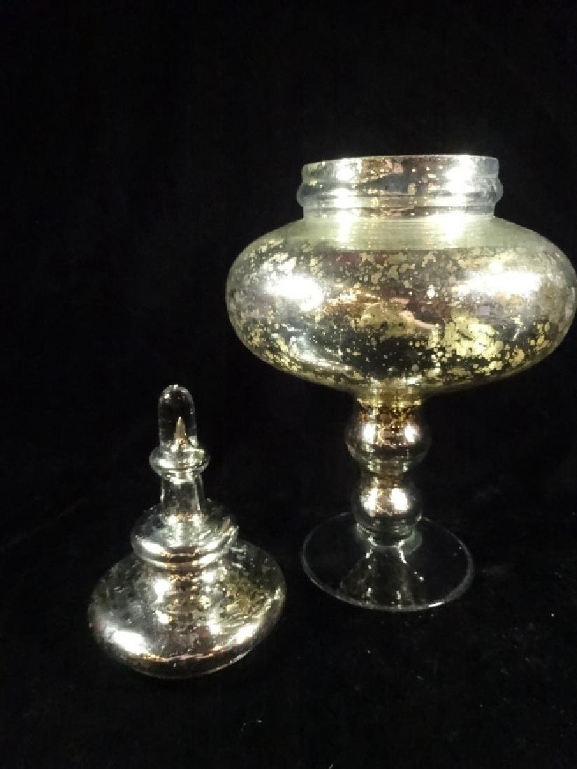 """SILVERED MERCURY GLASS URN WITH LID, APPROX 14""""H - 4"""