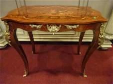 LOUIS XV STYLE MARQUETRY TABLE, GILT METAL ORLMOLU,