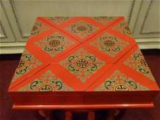 9 PC CHINESE RED LACQUER STORAGE BOXES, 8 GEOMETRIC