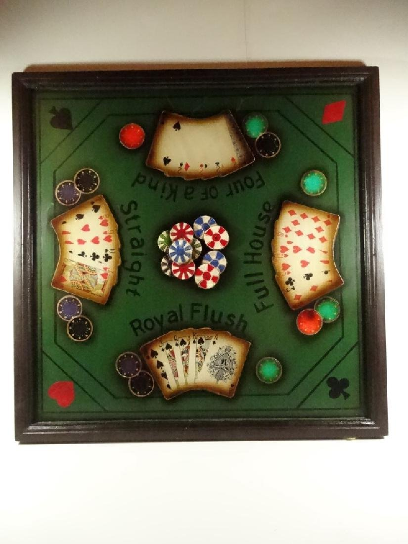 """LARGE POKER THEME 3D WALL HANGING, APPROX 21.5"""" X 21.5"""" - 2"""