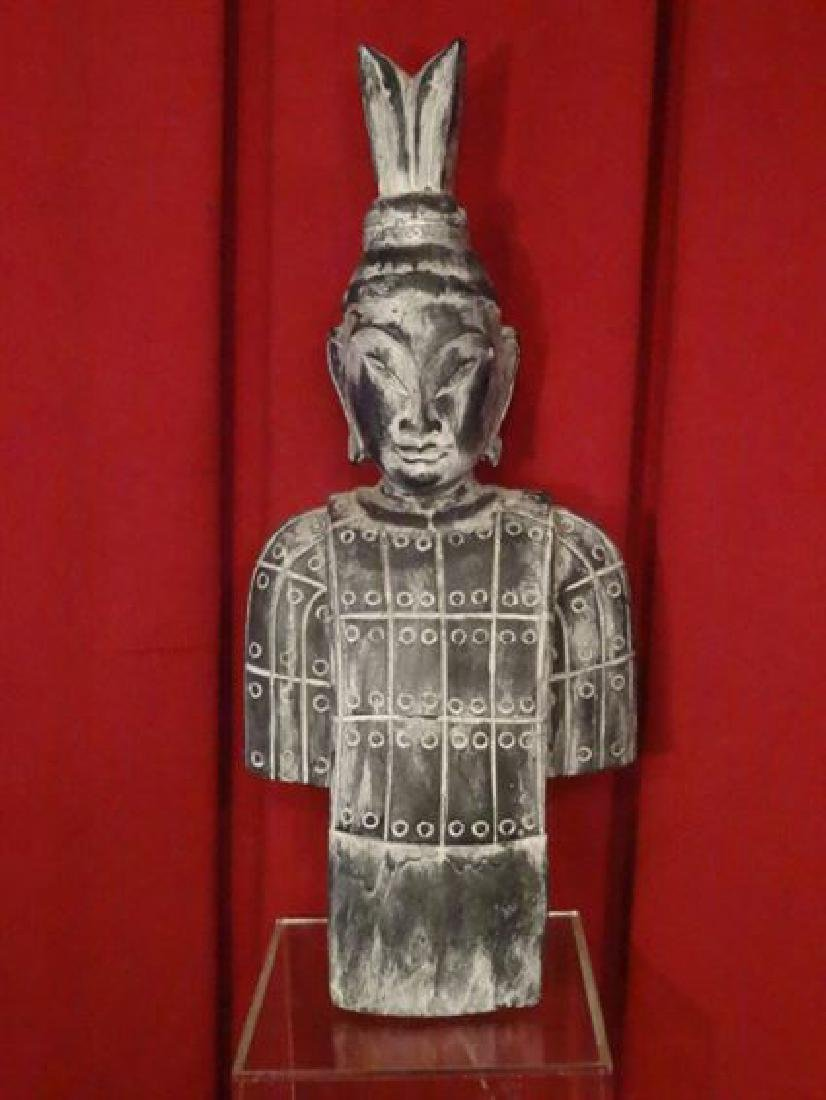 """CHINESE CARVED WOOD BUST, VERY GOOD CONDITION, 24.5""""H X"""