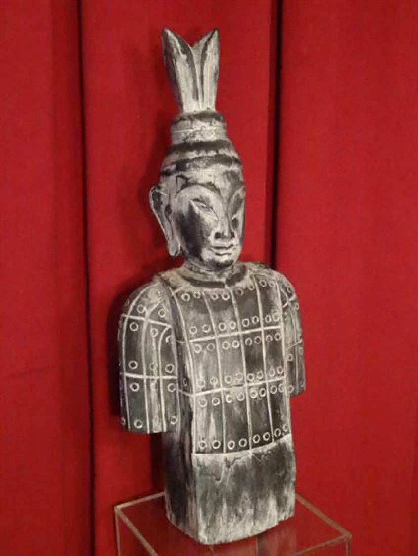 """CHINESE CARVED WOOD BUST, VERY GOOD CONDITION, 24.5""""H X - 2"""