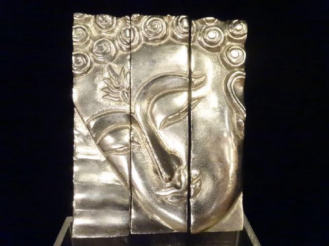 3 PC ALUMINUM BUDDHA HEAD WALL SCULPTURE TRIPTYCH,