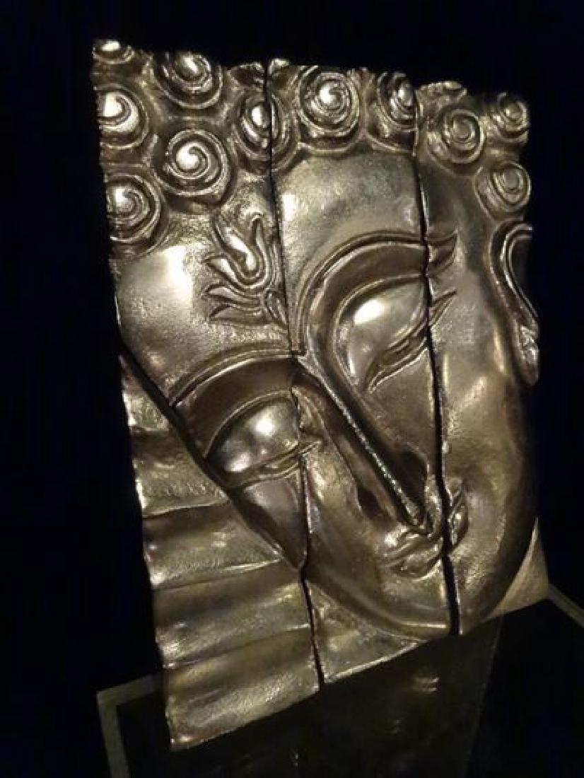 3 PC ALUMINUM BUDDHA HEAD WALL SCULPTURE TRIPTYCH, - 2
