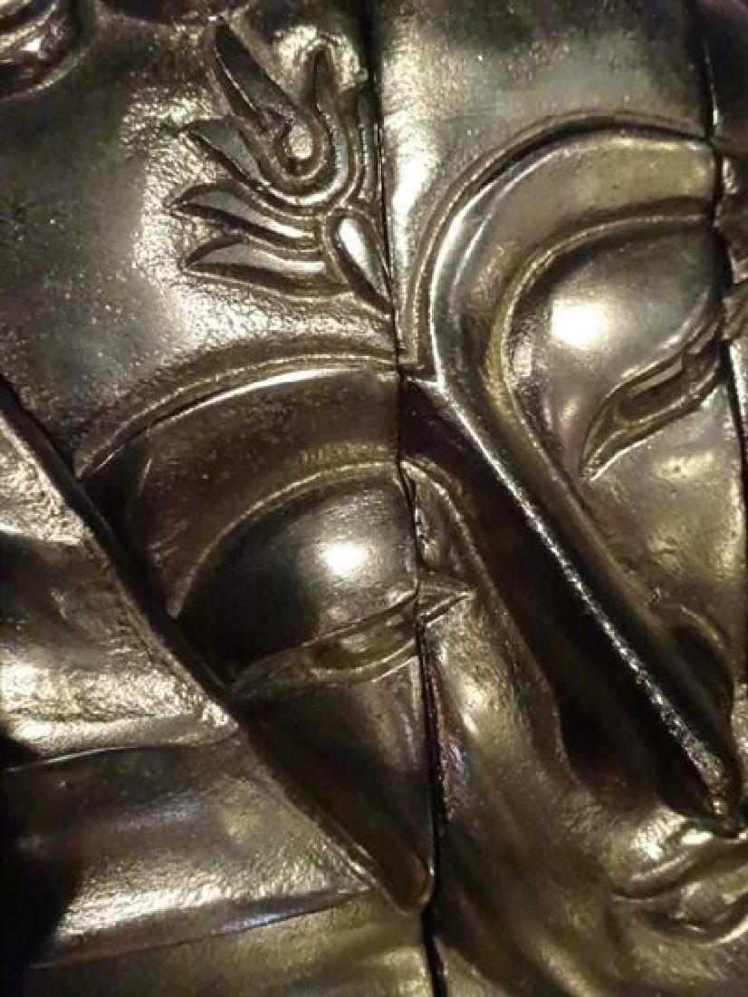 3 PC ALUMINUM BUDDHA HEAD WALL SCULPTURE TRIPTYCH, - 3