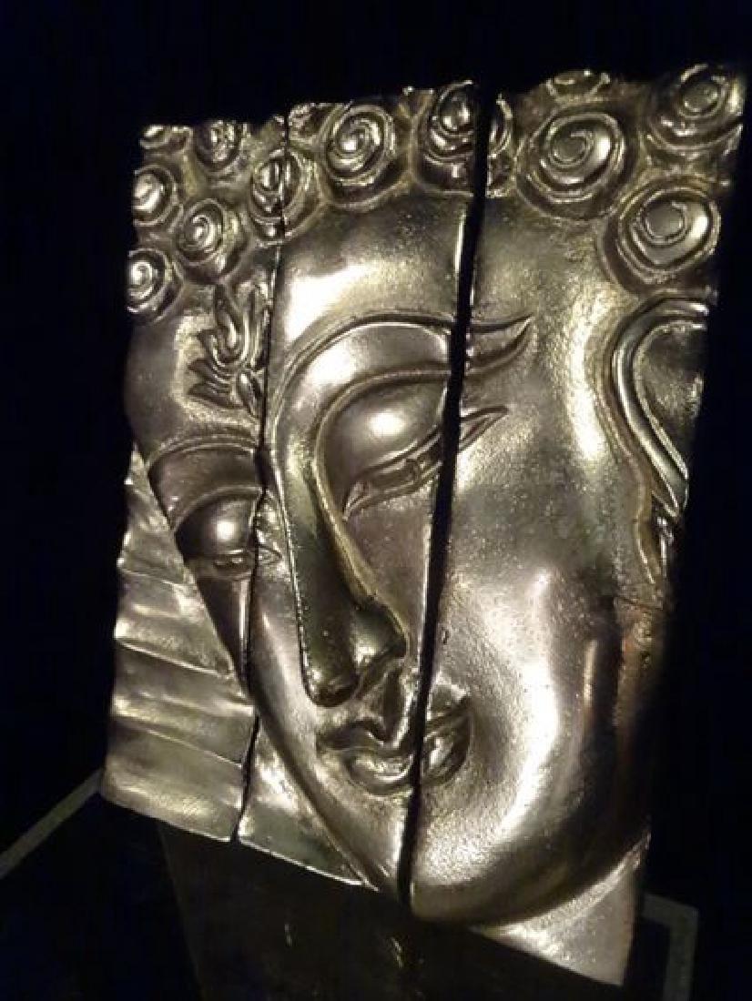 3 PC ALUMINUM BUDDHA HEAD WALL SCULPTURE TRIPTYCH, - 4