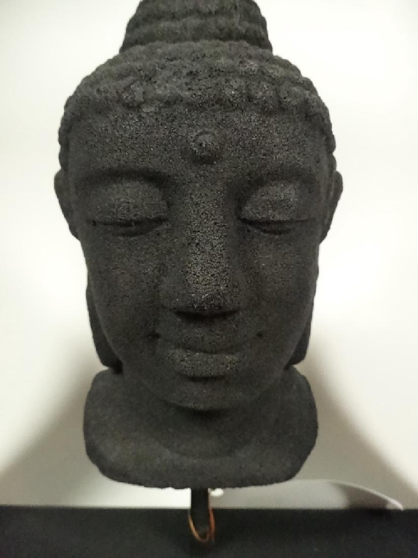BUDDHA HEAD SCULPTURE, COMPOSITE, IN BLACK FRAME, SOME - 2