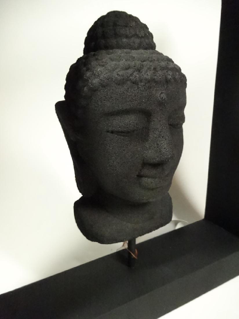 BUDDHA HEAD SCULPTURE, COMPOSITE, IN BLACK FRAME, SOME - 3