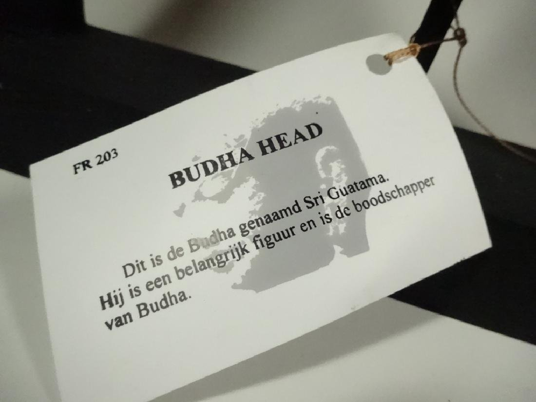 BUDDHA HEAD SCULPTURE, COMPOSITE, IN BLACK FRAME, SOME - 8