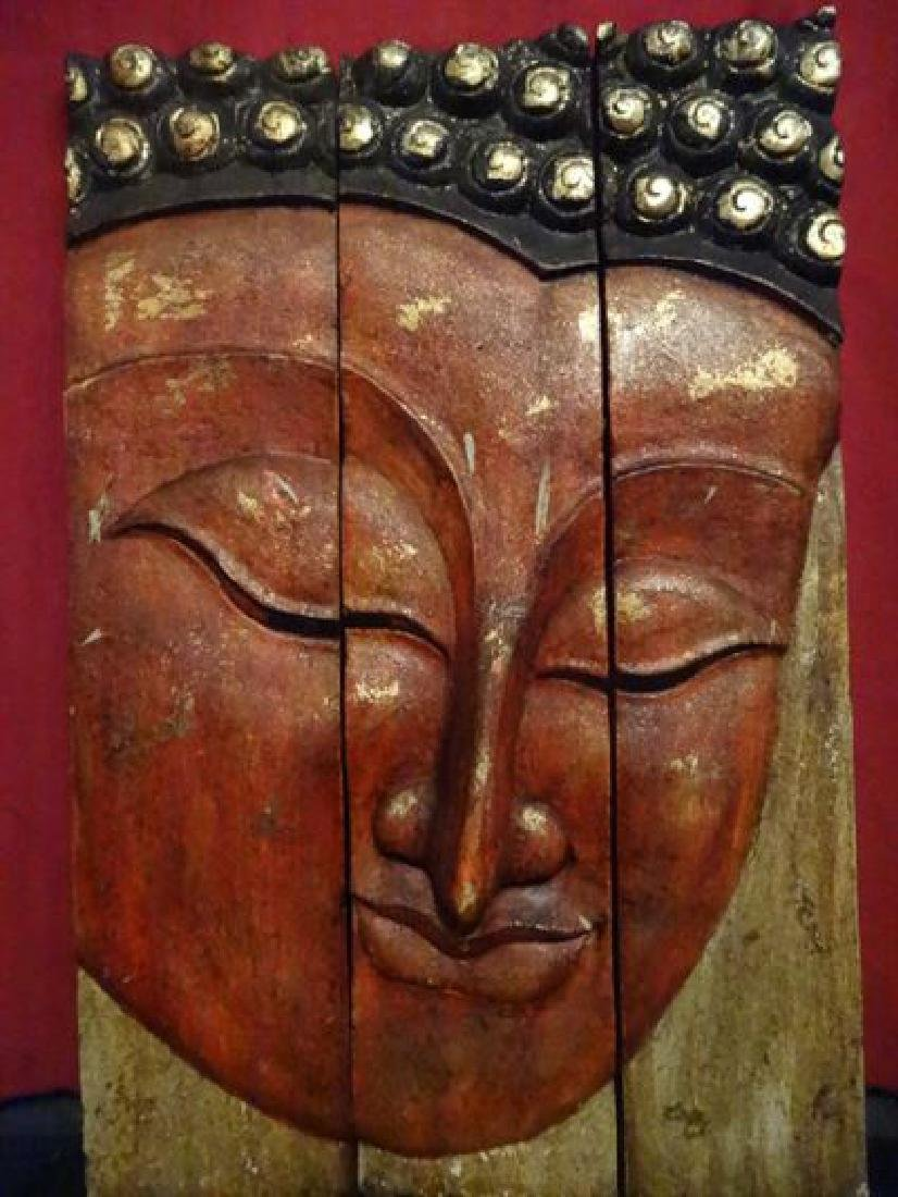 BUDDHA HEAD TRIPTYCH WALL SCULPTURE, CARVED WOOD, GILT