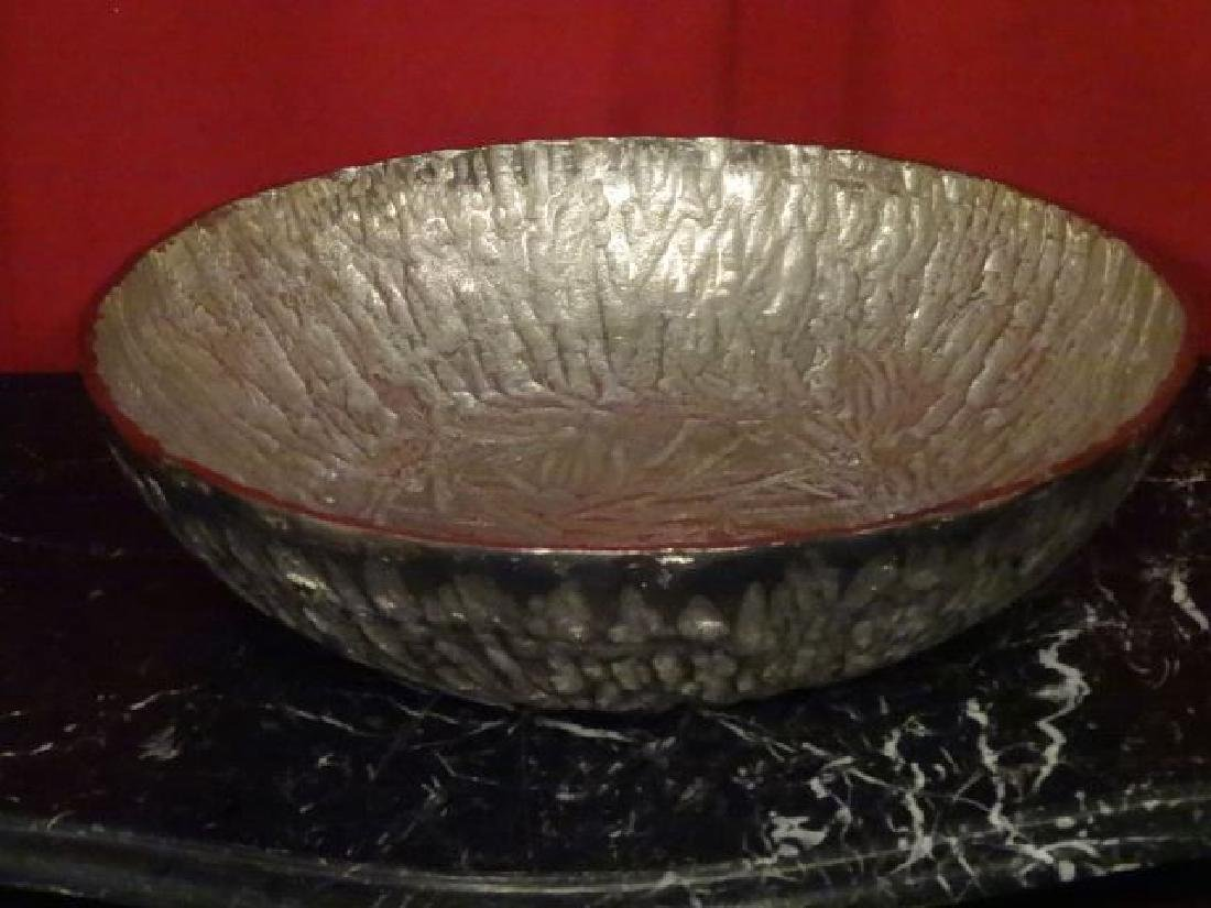 LARGE ALUMINUM BOWL, TEXTURED FINISH, NEW NEVER USED,