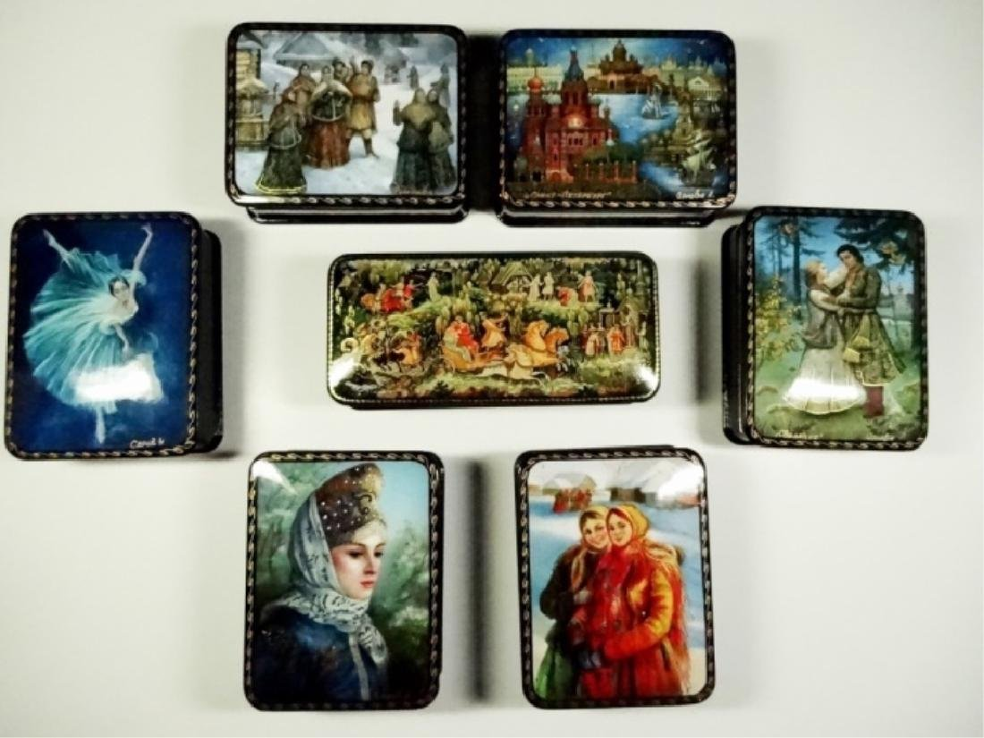 7 PC RUSSIAN HAND PAINTED LACQUERED BOXES, ARTIST