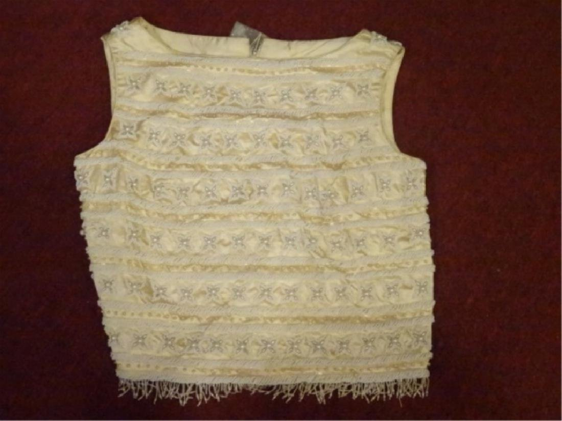 LADIES BEADED TOP, NEW, NEVER USED, CHAMPAGNE AND IVORY