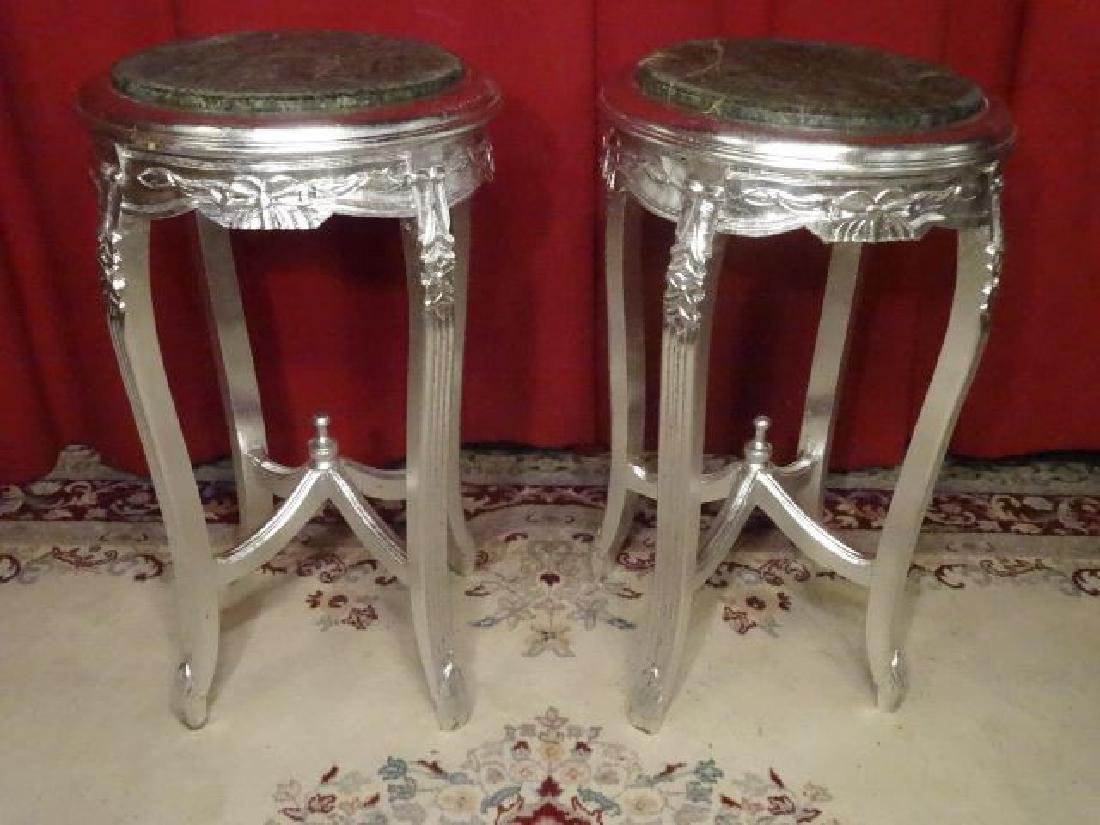 PAIR LOUIS XV STYLE PEDESTALS, SILVER GILT WOOD WITH
