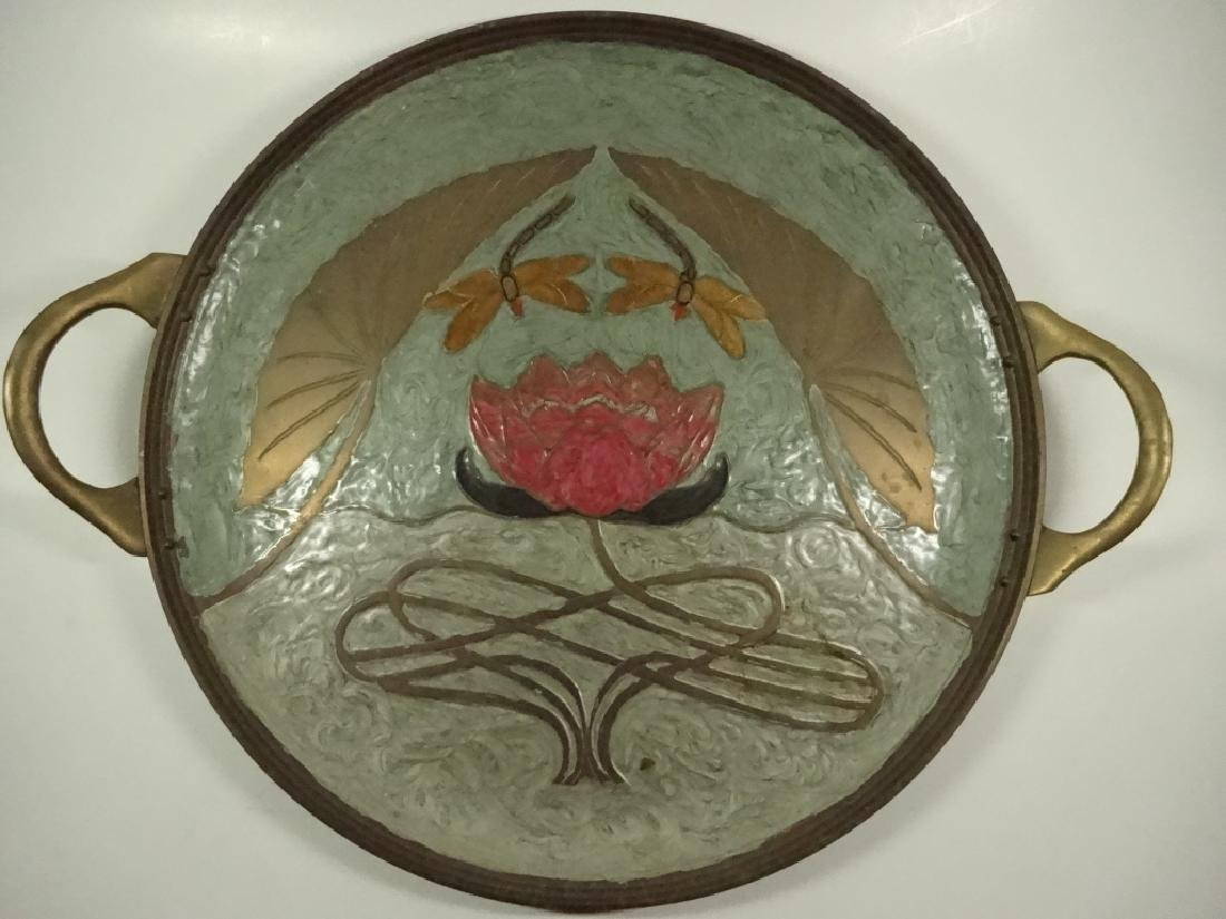 BRASS TRAY WITH ENAMEL DRAGONFLY & WATER LILY DESIGN,