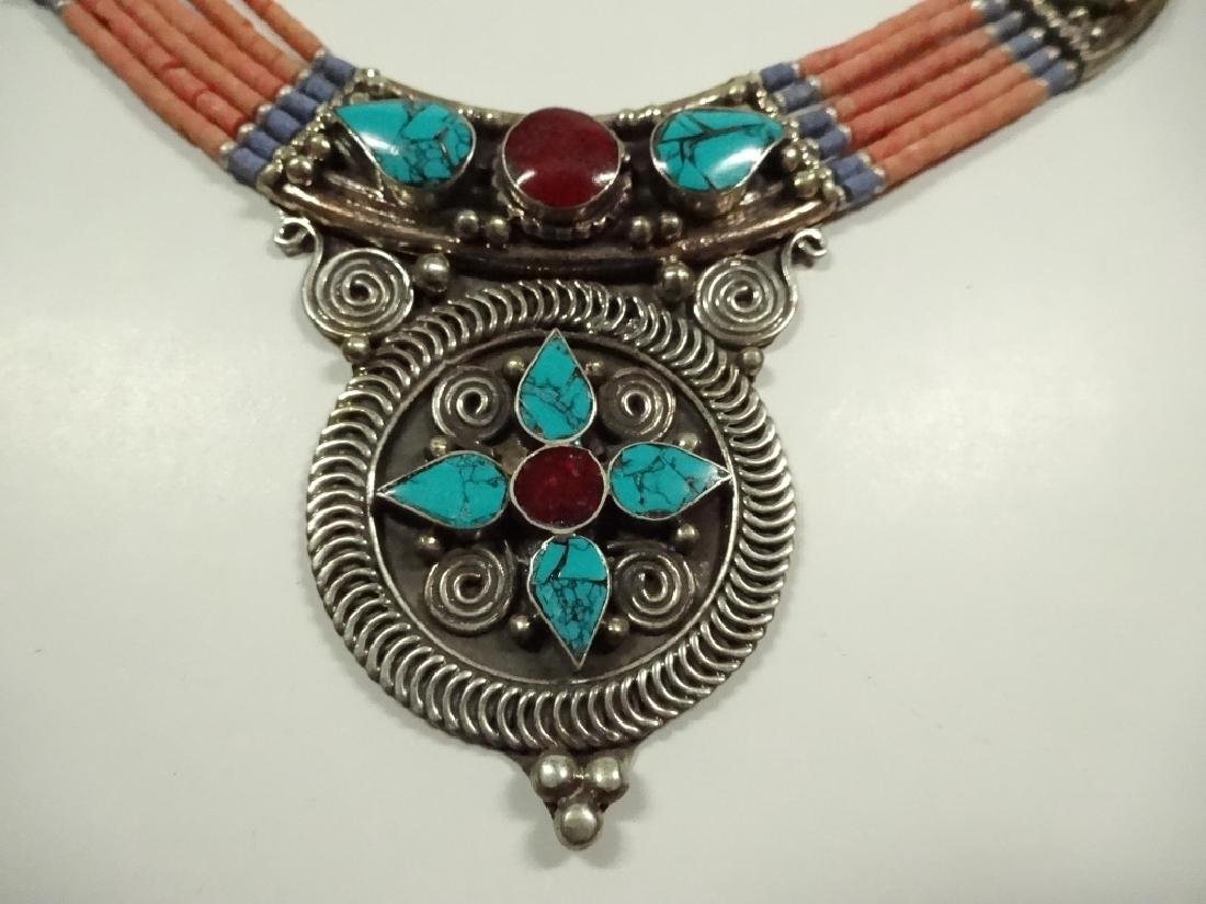 """NECKLACE WITH TURQUOISE & CORAL, APPROX 17L"""", SKU155 NK"""