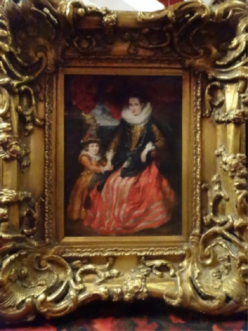OIL ON BOARD PAINTING, NOBLEWOMAN & CHILD, AFTER RUBENS