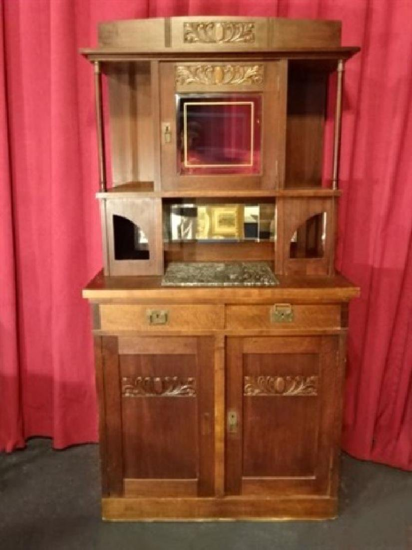 ART NOUVEAU STYLE HUTCH, UPPER CABINET AND SHELVES