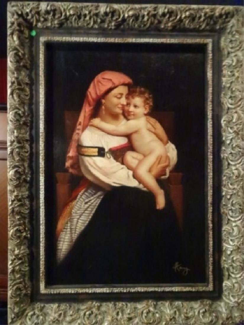 LARGE GICLEE ON CANVAS, WOMAN HOLDING BABY , VERY GOOD