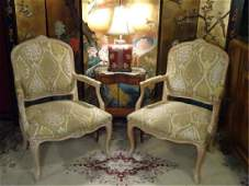 PAIR LOUIS XV STYLE OPEN ARM CHAIRS LIGHT FINISH WOOD