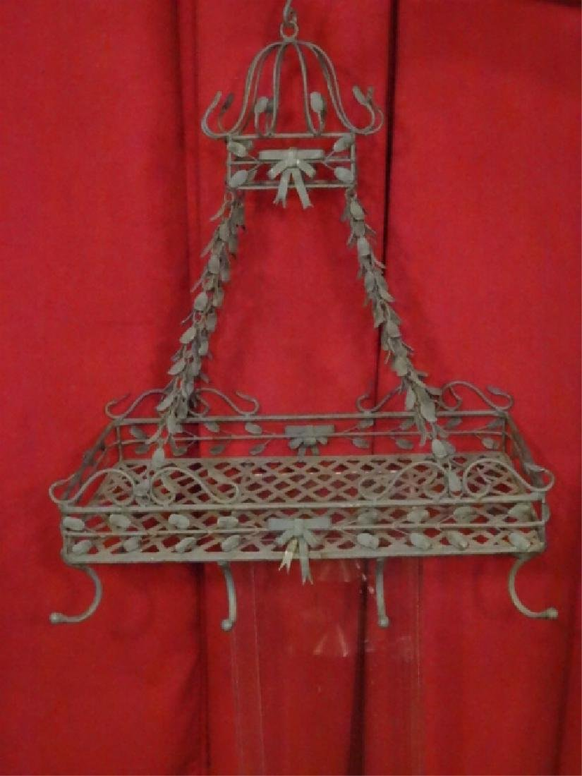 HANGING METAL POT RACK, NEW NEVER USED, GREEN FINISH