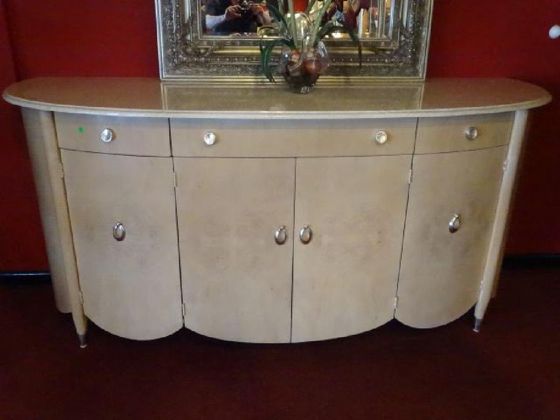 HENREDON MARBLE TOP SIDEBOARD, BOW FRONT, MARBLE TOP,