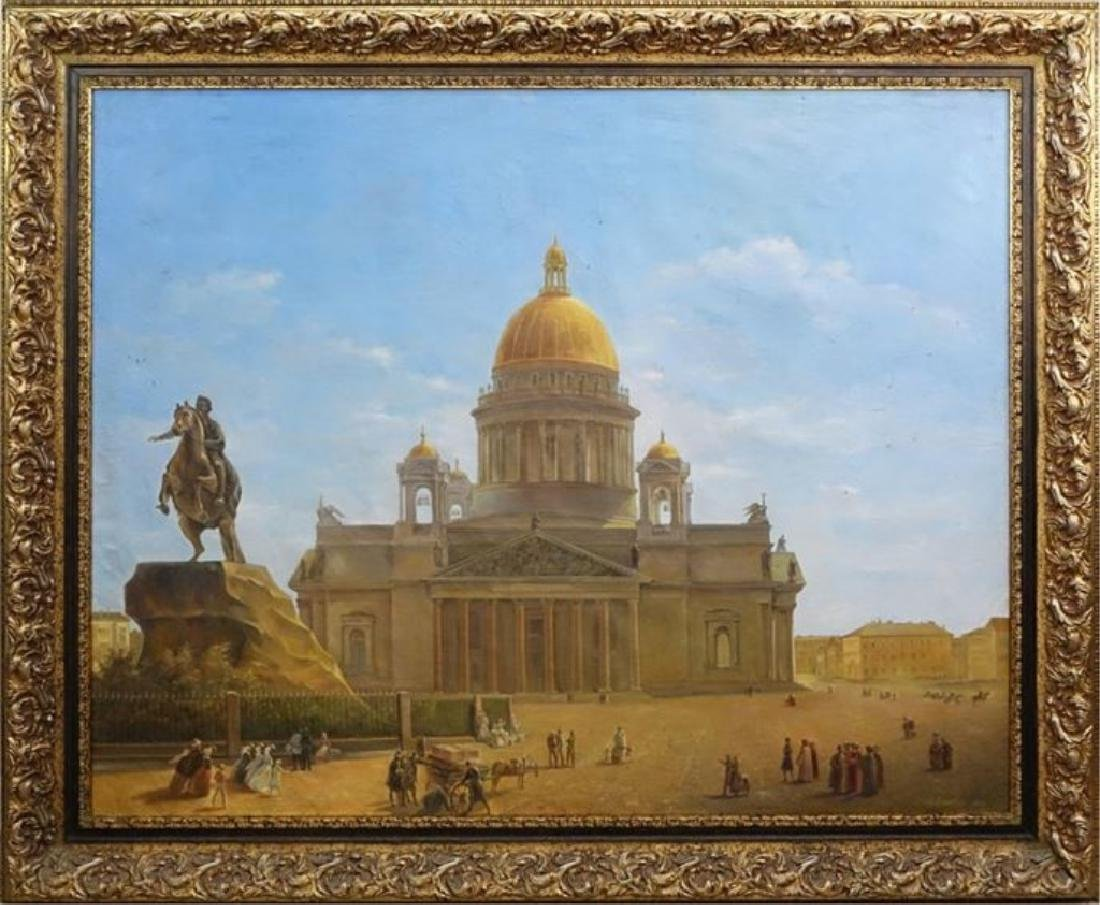 HUGE RUSSIAN OIL PAINTING ON CANVAS, AFTER NIKIFOROVICH