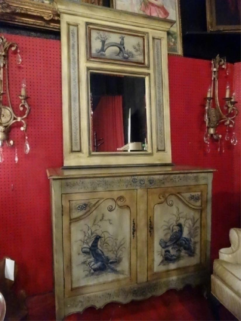 2 PC PAINTED CONSOLE CABINET AND MIRROR, ANTIQUED