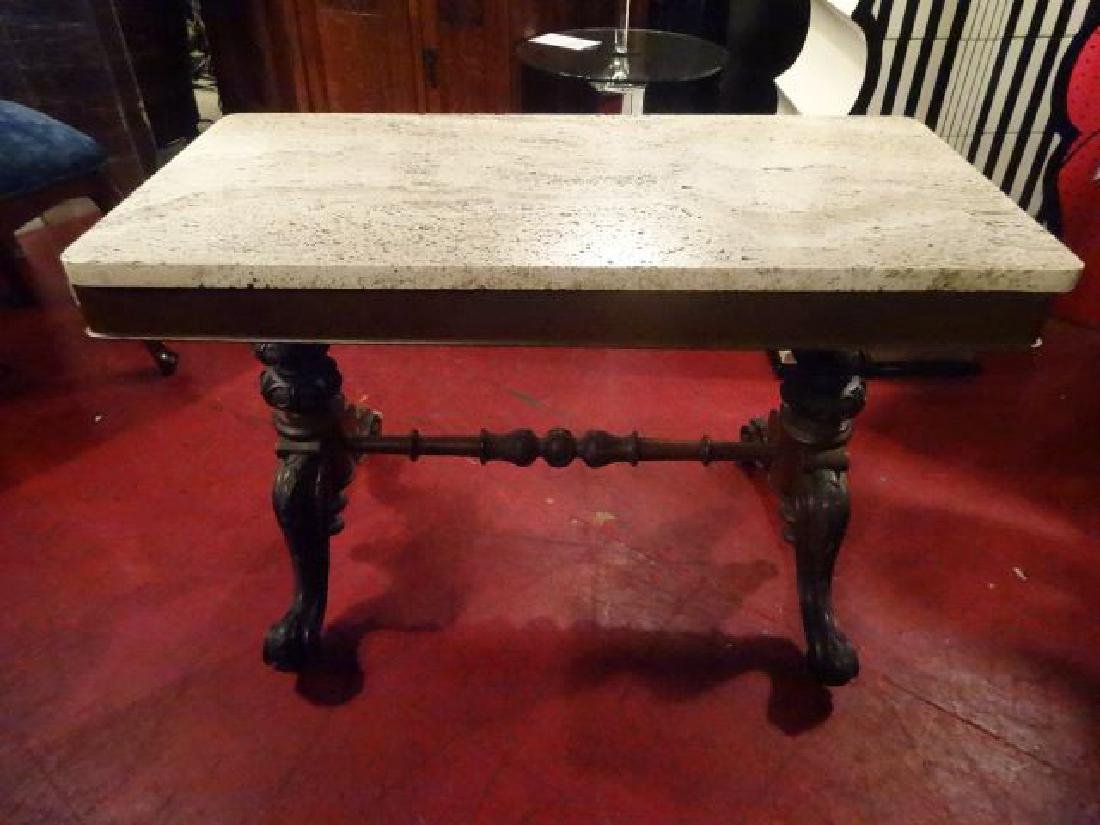 ANTIQUE MARBLE TOP TABLE, CARVED WOOD BASE, PAW FEET,