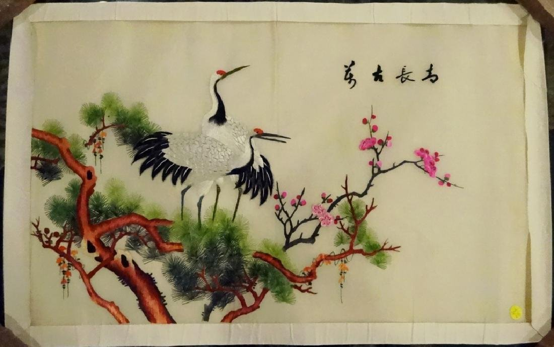 LARGE CHINESE EMBROIDERY ON SILK, SCENE WITH CRANES IN