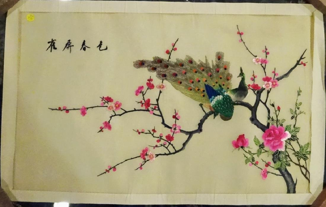 LARGE CHINESE EMBROIDERY ON SILK, SCENE WITH PEACOCKS