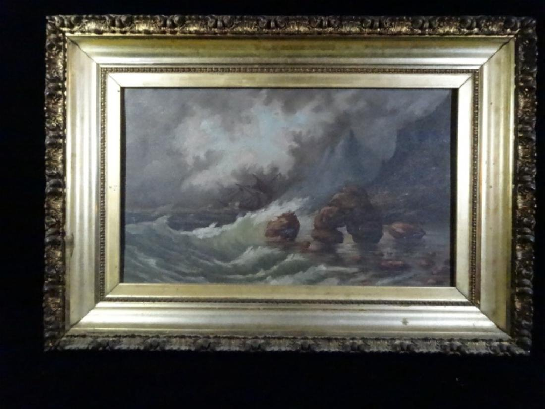 """SEASCAPE PAINTING ON BOARD, UNSIGNED, FRAMED SIZE 19.5"""""""