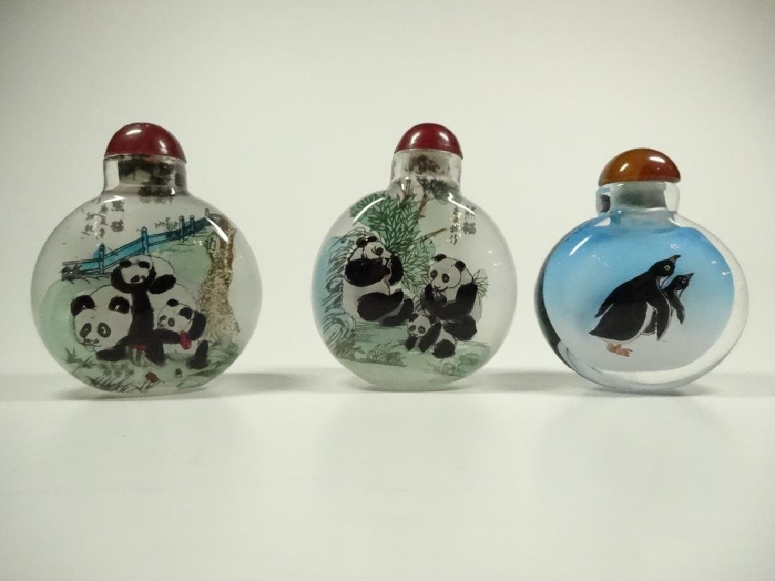3 PC CHINESE INSIDE PAINTED SNUFF BOTTLES, 2 HAVE