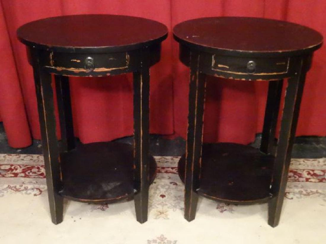 PAIR ROUND TABLES, DISTRESSED BLACK FINISH, SINGLE