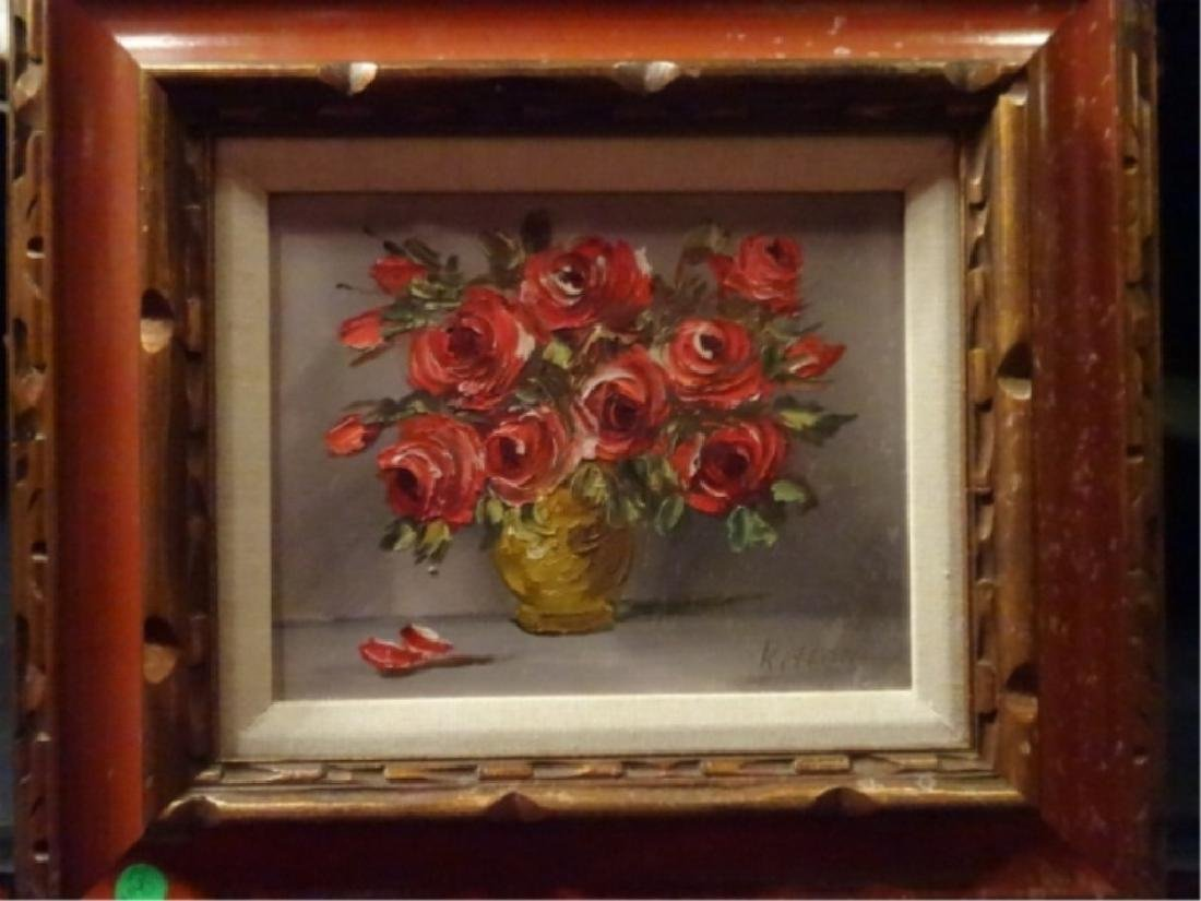 OIL ON CANVAS PAINTING, FLORAL STILL LIFE, RED ROSES,