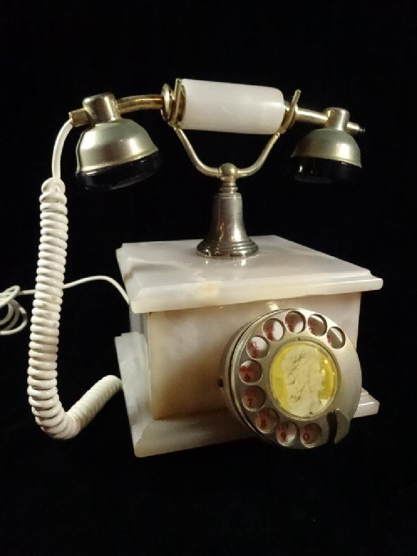 VINTAGE ROTARY DIAL TELEPHONE, FRENCH STYLE, ONYX BASE,