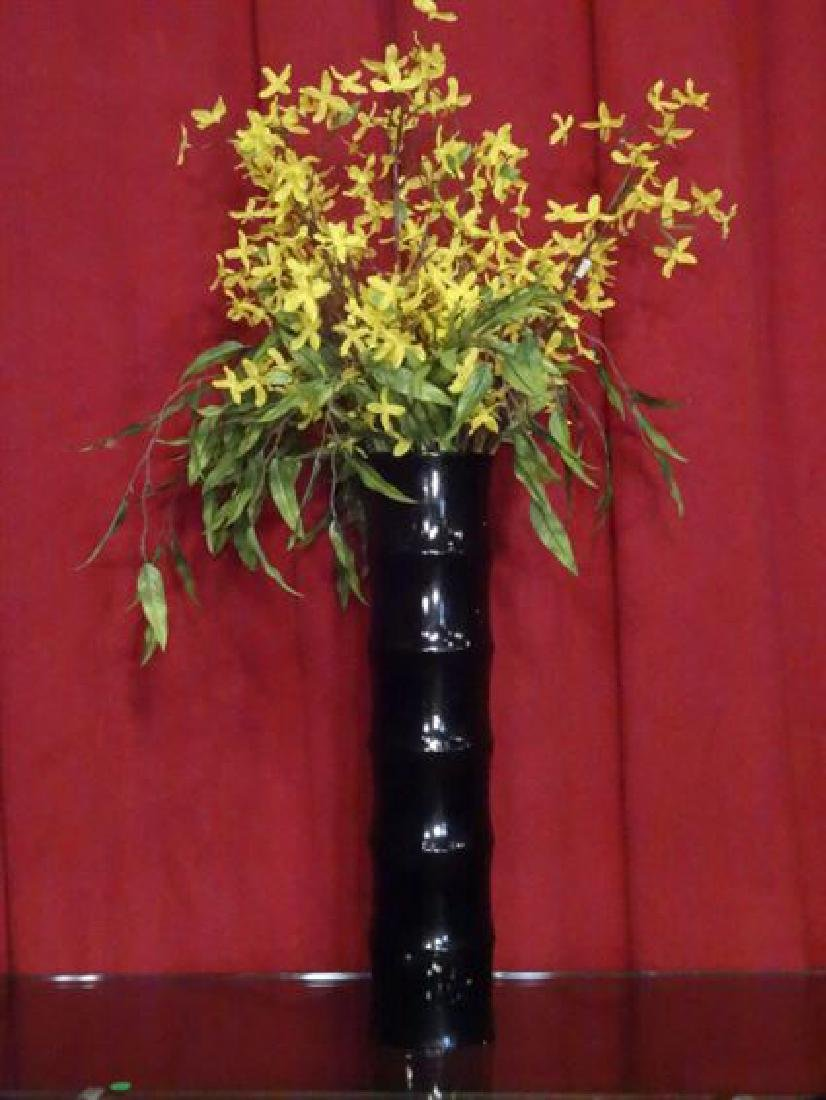 LARGE DARK WOOD BAMBOO MOTIF VASE, EXCELLENT CONDITION,