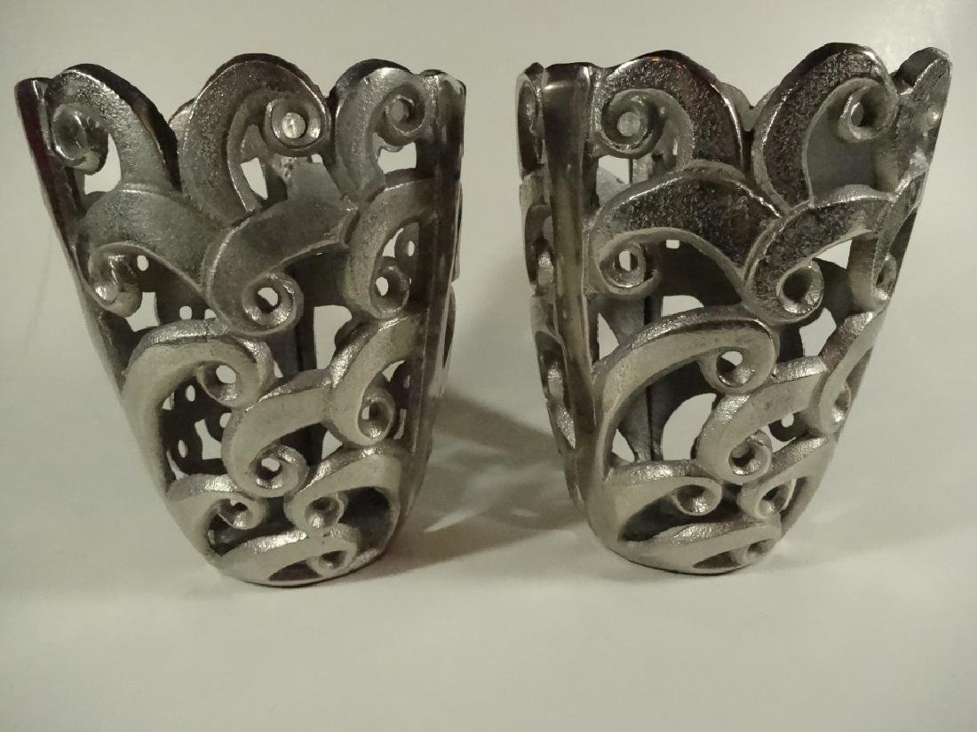 2 PC CAST METAL CANDLE HOLDERS, ALUMINUM FINISH, APPROX