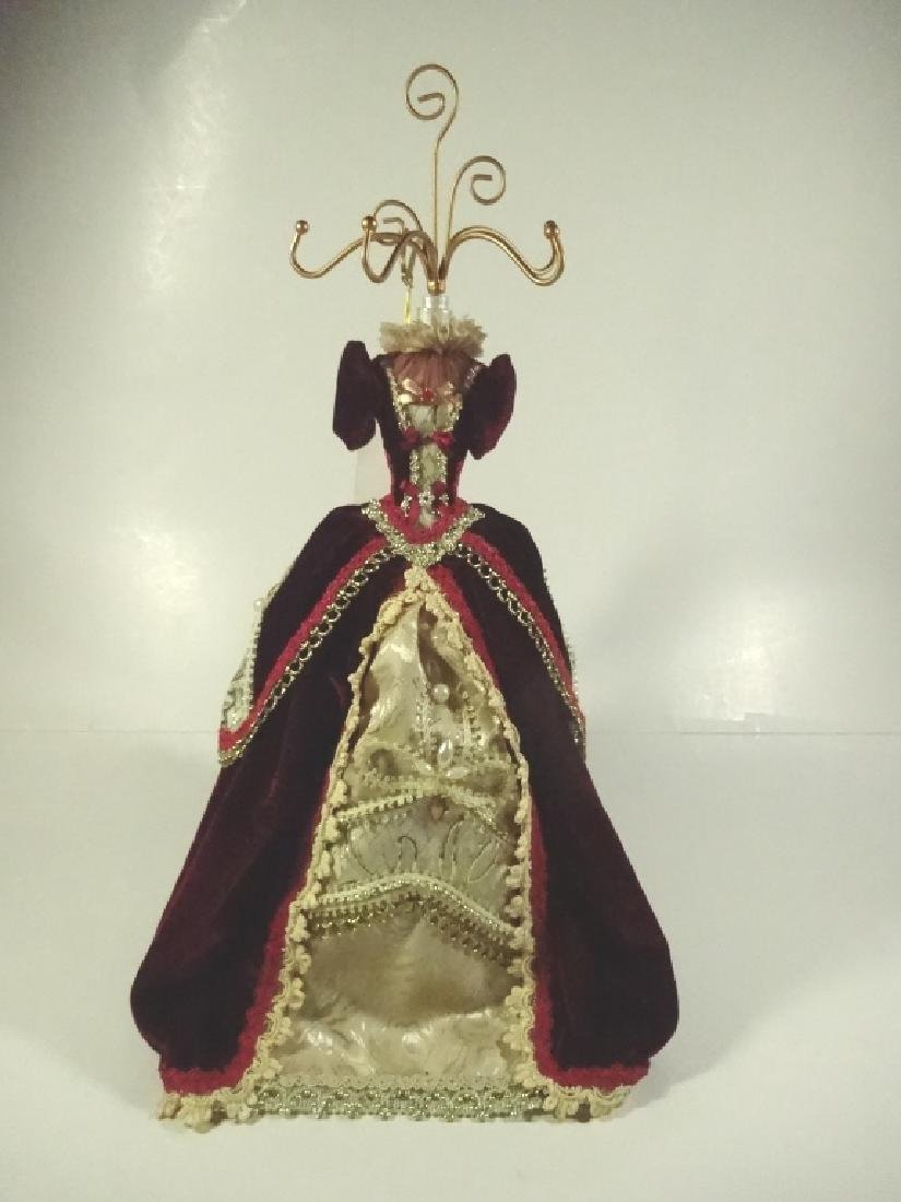 JEWELRY STAND, MANNEQUIN FORM WITH BURGUNDY DRESS,
