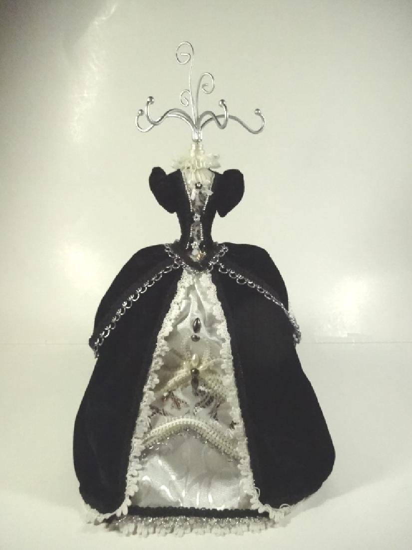 JEWELRY STAND, MANNEQUIN FORM WITH BLACK DRESS, APPROX