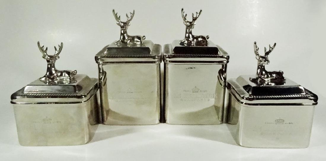 4 PC DECORATIVE METAL CANISTERS, RECLINING STAG