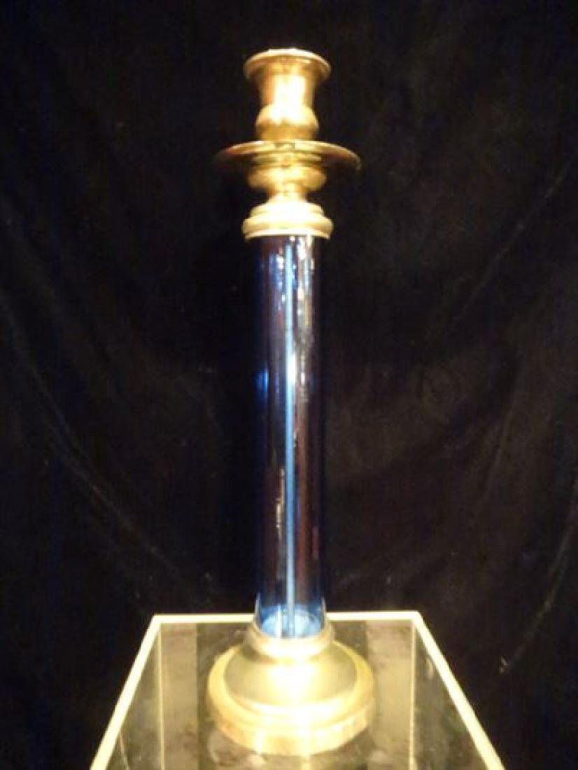 "BLUE GLASS AND METAL CANDLE HOLDER, DARK BLUE, 16"" X"