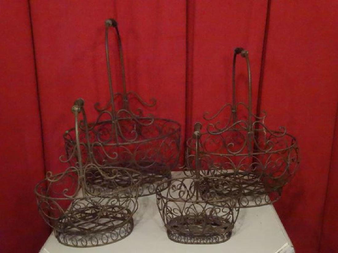 4 PC METAL BASKET SET, NEW NEVER USED, #1 OF TWO