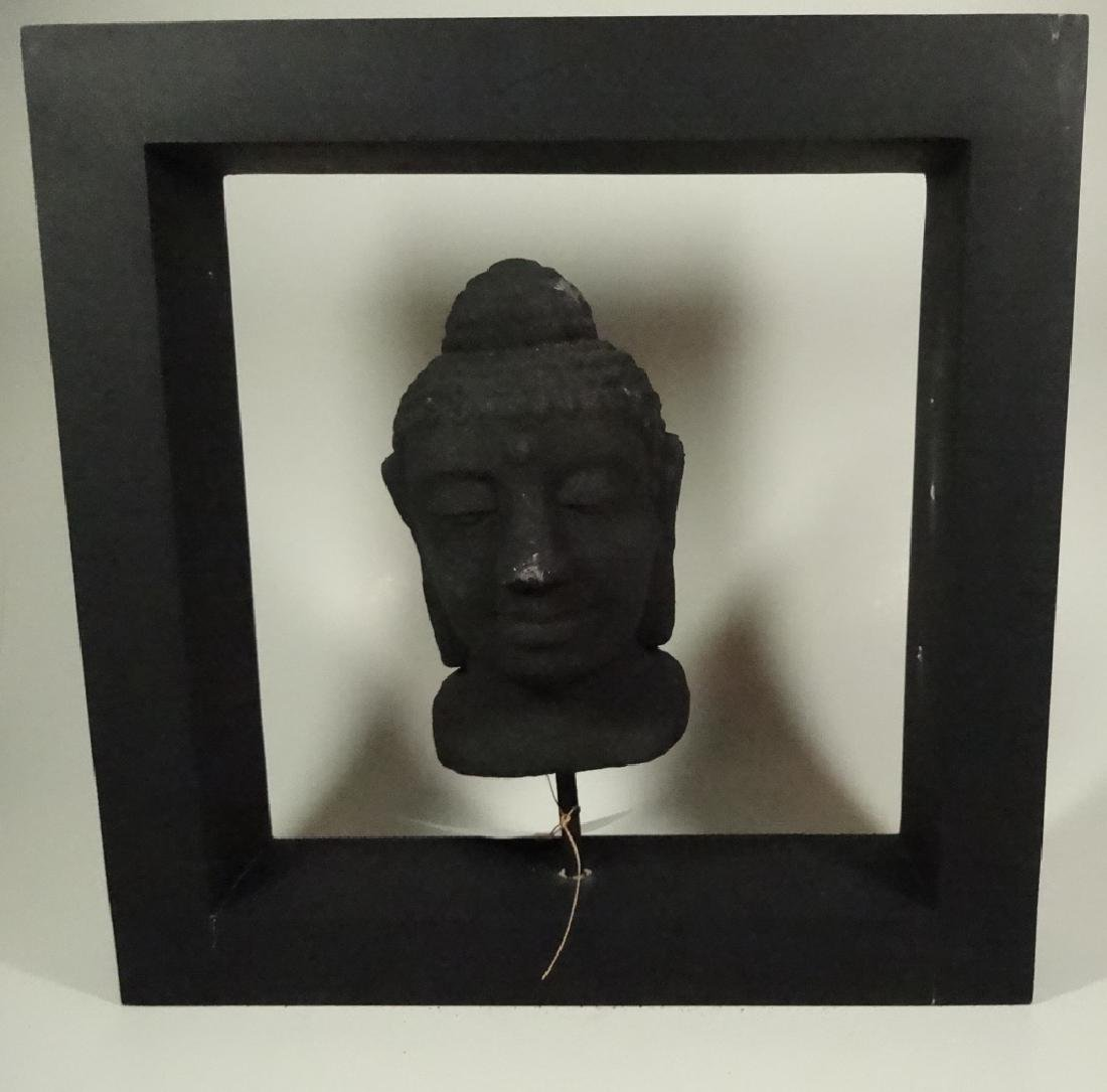 BUDDHA HEAD SCULPTURE, COMPOSITE, IN BLACK FRAME,