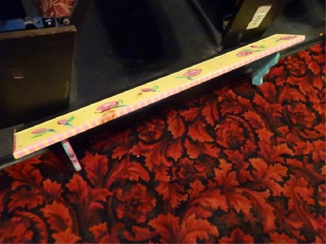 PAINTED WOOD SHELF WITH FLORALS, APPROX 4'W