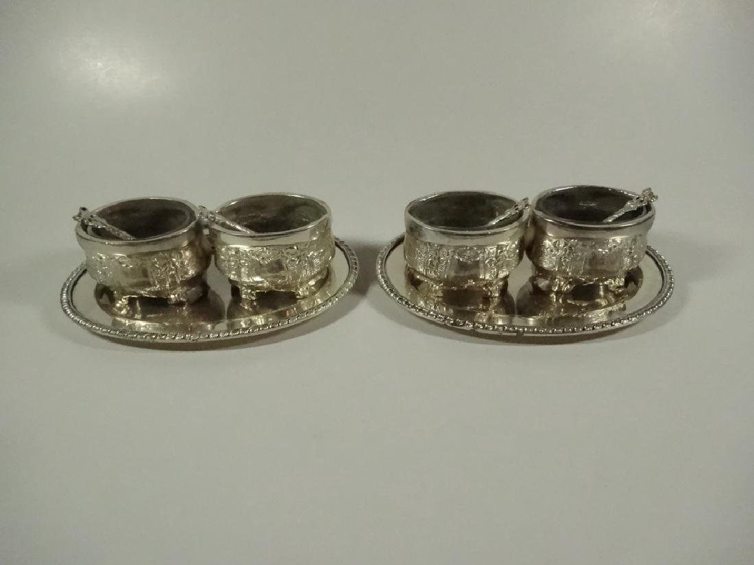 6 PC INDIVIDUAL SALT CELLARS WITH TRAYS, INCLUDES 4