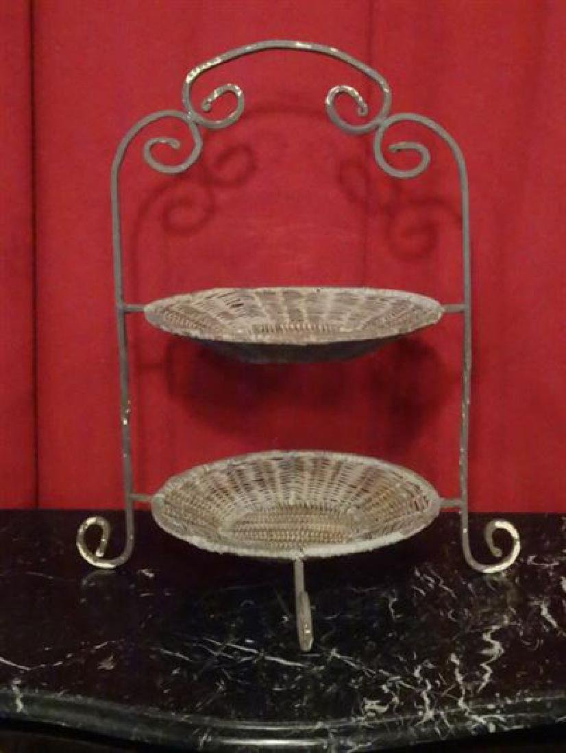 WICKER AND METAL 2 TIER SERVING DISH, NEW NEVER USED,